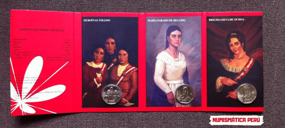 blister de monedas la mujer en el proceso de la independencia del peru, blister de la moneda de Brígida Silva de Ochoa, blister de la moneda de María Parado de Bellido, Blister de las Heroínas de Toledo