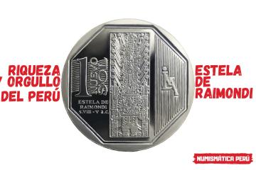 moneda alusiva a la estela de raimondi, riqueza y orgullo del perú