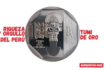 moneda alusiva al tumi de oro, riqueza y orgullo del perú