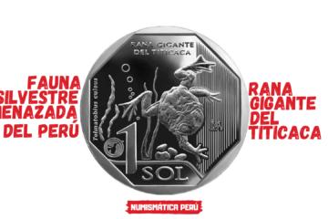 moneda alusiva a la rana gigante del titicaca