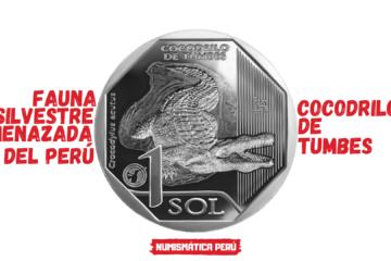 moneda alusiva al cocodrilo de tumbes