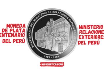 moneda de plata conmemorativa del bicentenario del ministerio de relaciones exteriores del peru