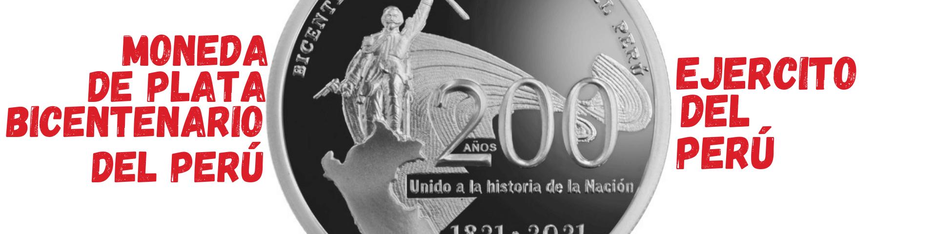 moneda de plata conmemorativa del bicentenario del ejercito del peru